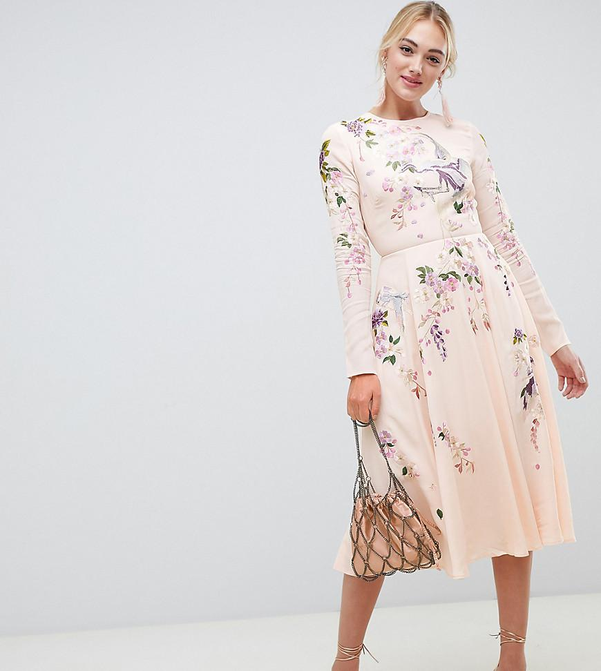 b35b78ec1e3 ASOS. Women s Pink Asos Design Tall Midi Dress With Pretty Floral And Bird  Embroidery