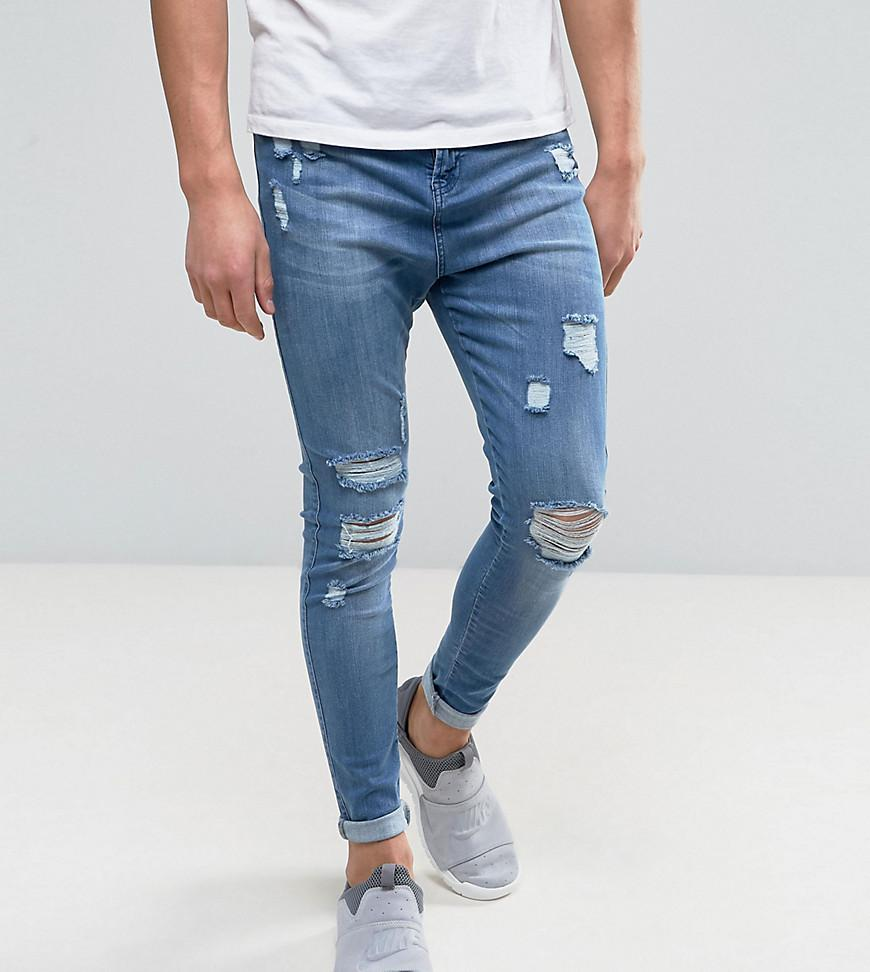 Super Skinny Jeans In Blue With Distressing - Blue Good For Nothing 2bdq1