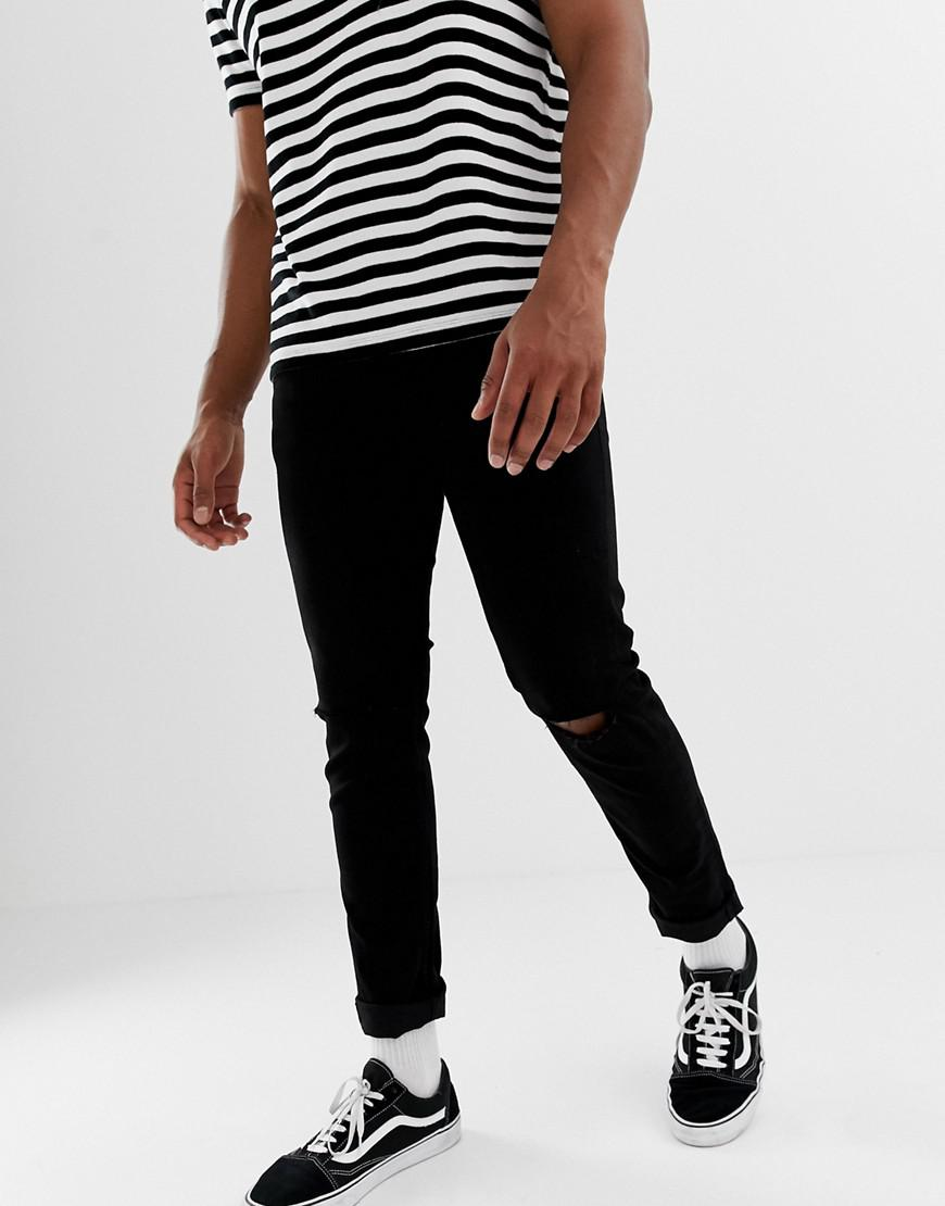 47c78008ee Lyst - Only & Sons Skinny Jeans In Black With Knee Rip in Black for Men