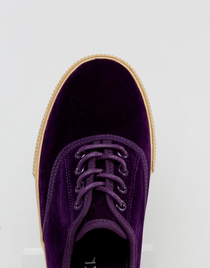 e4198d818669a Monki Exclusive Crushed Velvet Flatform Trainer in Purple - Lyst