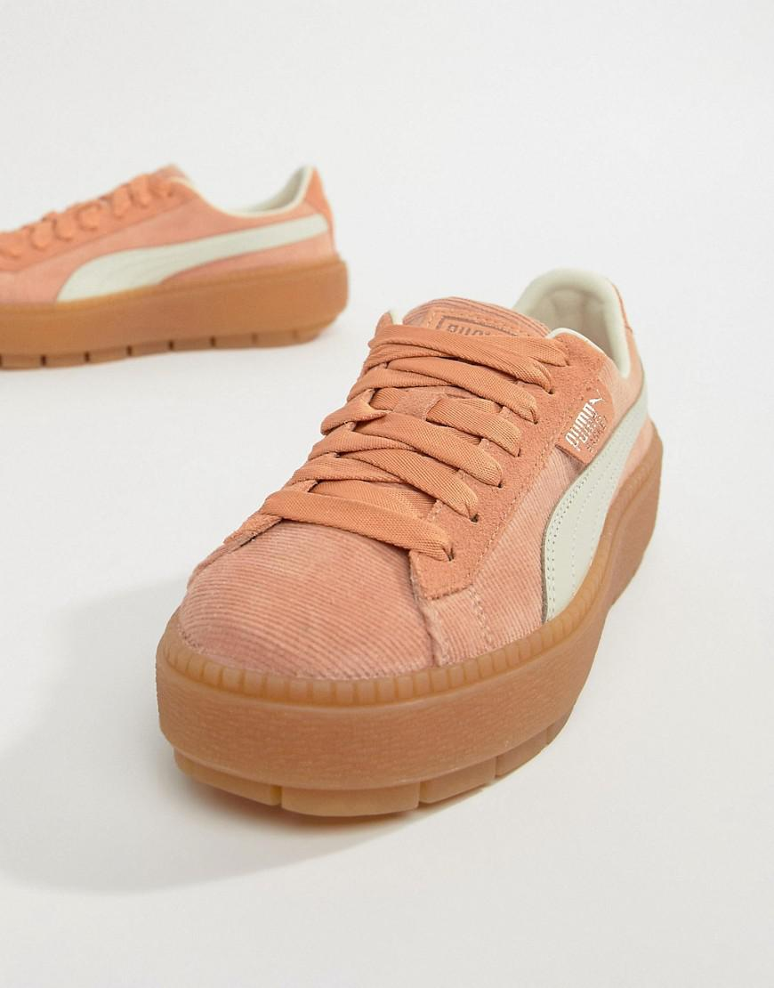 8c34946a7fd PUMA Platform Trace Corduroy Pink Sneakers in Orange - Save 20% - Lyst