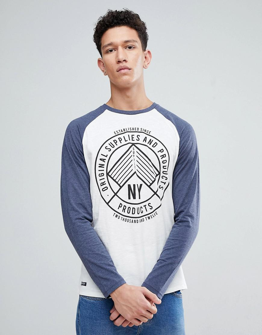 Botanical Print T-Shirt - Navy marl Threadbare Cheap Wholesale Price FO2L8NG