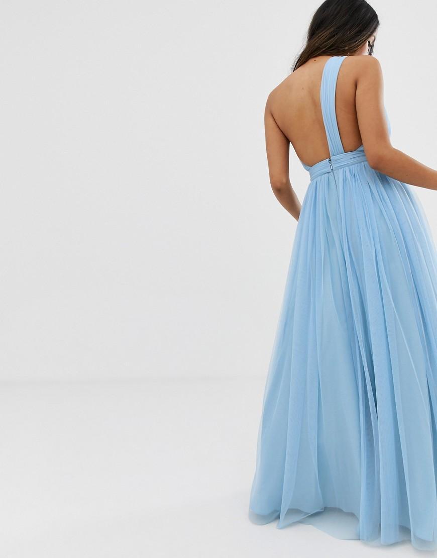 d77dfbd5ae Lyst - ASOS Asos Design Petite Tulle One Shoulder Maxi Dress in Blue