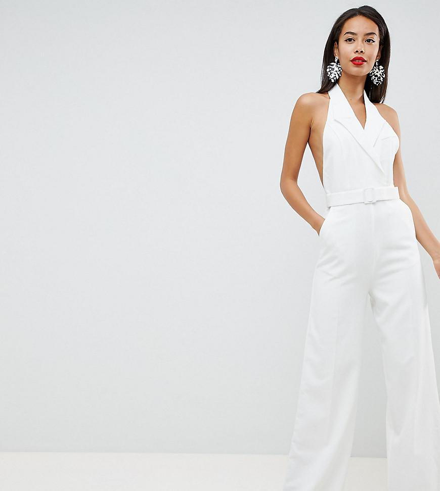 a2edb4ae2ec ASOS Asos Design Tall Tux Jumpsuit With Wide Leg in White - Lyst