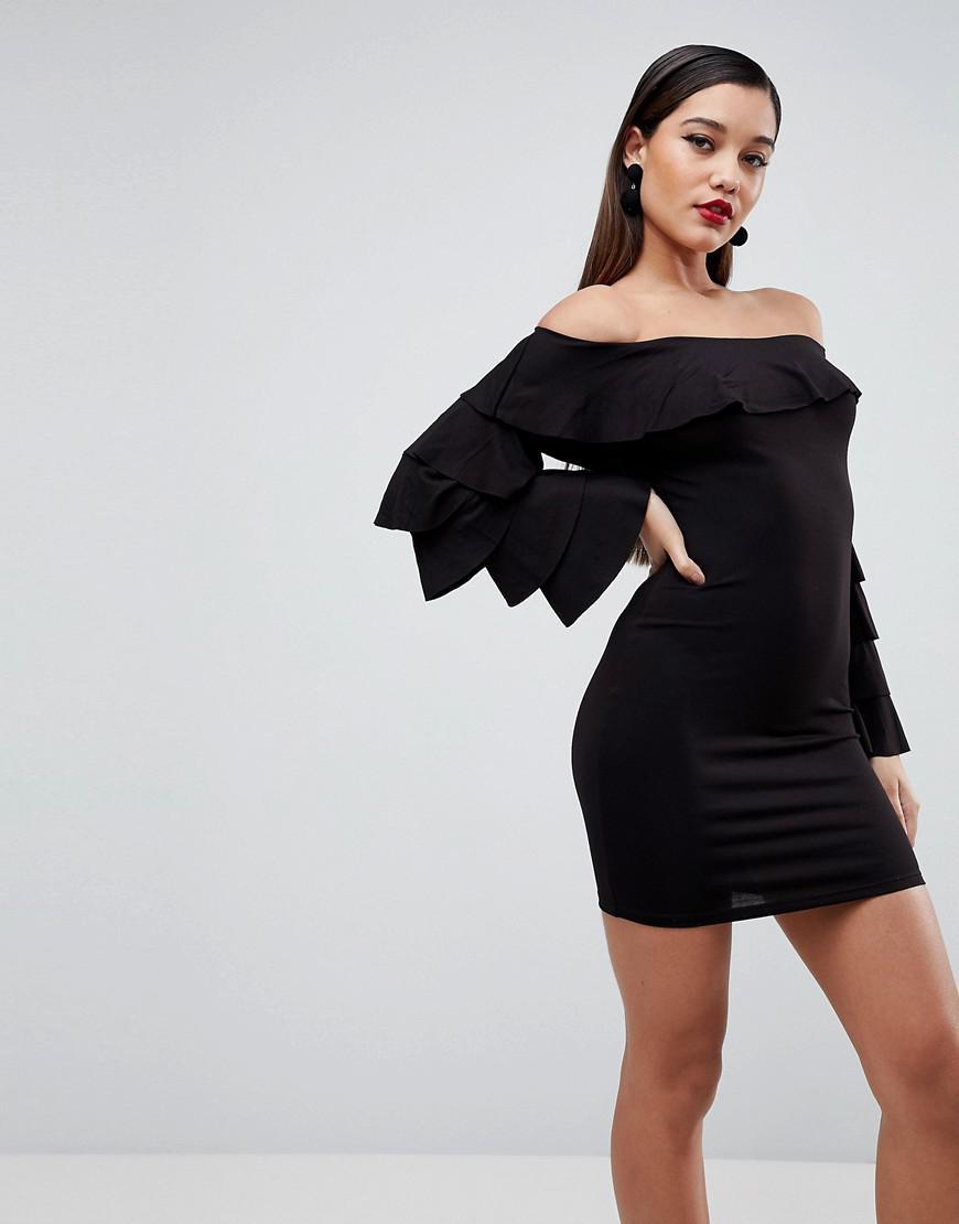 09fdeb59629 Lyst - ASOS Bardot Extreme Ruffle Sleeve Bodycon Mini Dress in Black