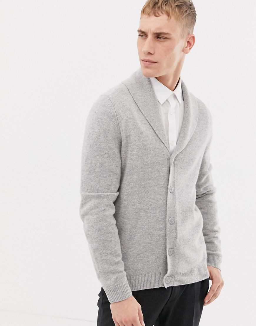 5f2fd42d064 Lyst - ASOS Lambswool Shawl Cardigan In Light Gray in Gray for Men