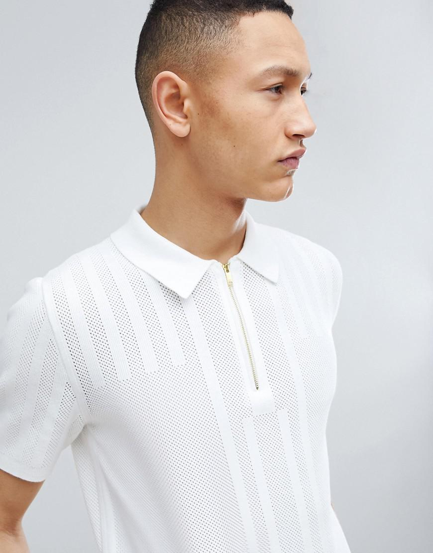 4aa1d7c93 Reiss Knitted Half Zip Short Sleeve Polo in White for Men - Lyst