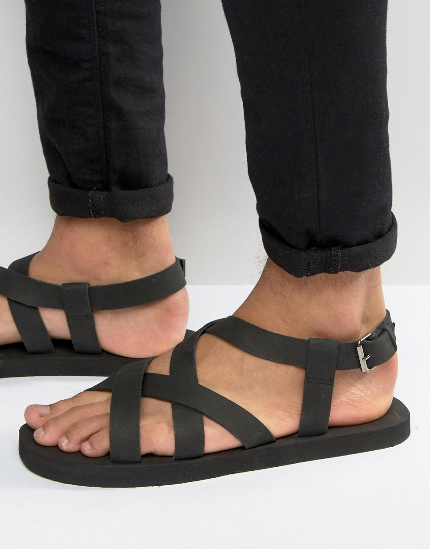 Get Comfortable ASOS Cross Over Sandals In Black Nubuck Leather mens Black ASOS Mens Sandals