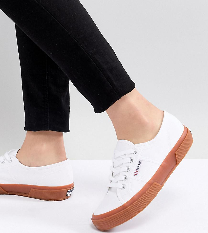 8f2256b9edabd Superga 2750 Classic Canvas Sneakers In White With Gum Sole in White ...
