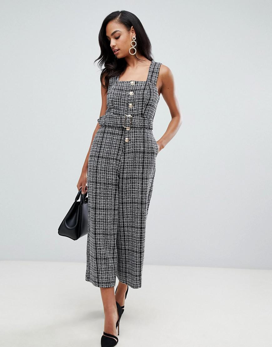 24b74d5095a Lyst - ASOS Pinny Jumpsuit In Boucle With Gold Buttons