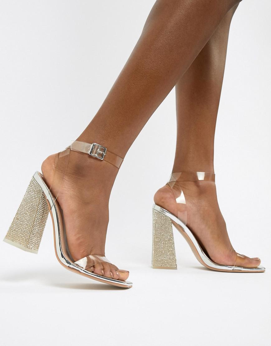 8b68af3fbf417 Public Desire. Women's Metallic Ayda Embellished Heel Clear Detail Sandals