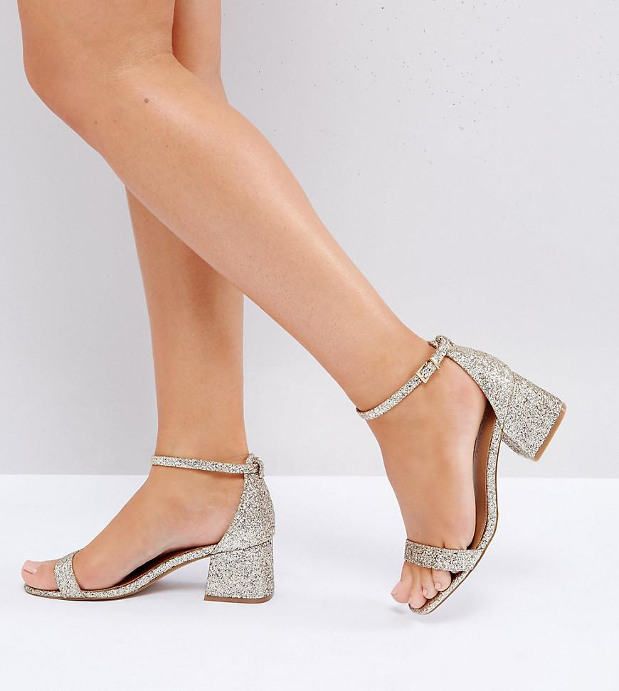 d466f623e1e7 Lyst - ASOS Asos Honeydew Wide Fit Heeled Sandals in Metallic