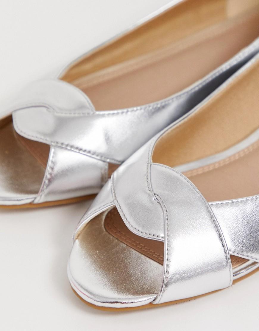 566900408 Lyst - ASOS Leadership Peeptoe Ballet Flats in Metallic