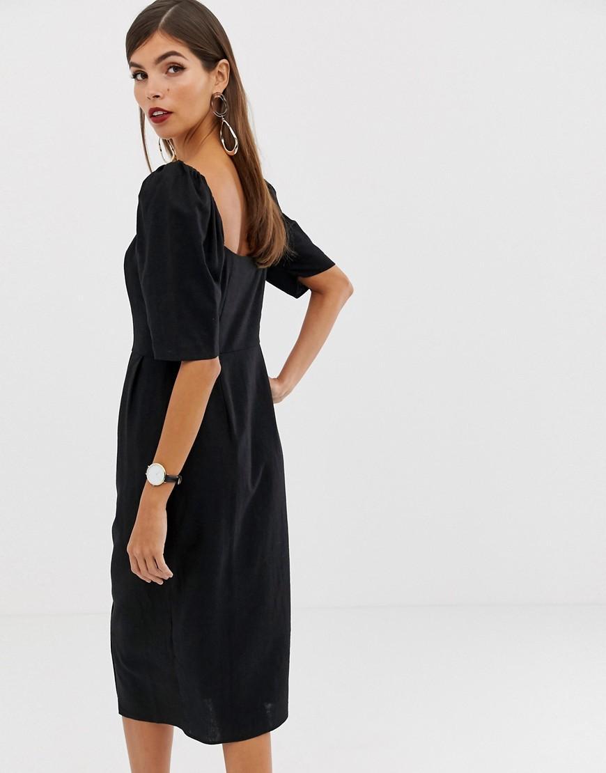 38c7d05697 ASOS Linen Button Through Midi Dress With Sweetheart Neckline in Black -  Lyst