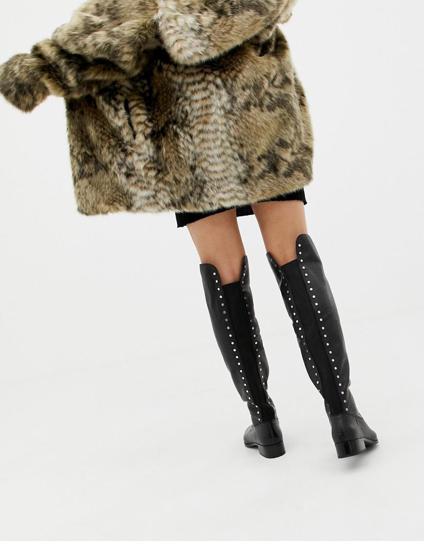 85aeafeda41f ALDO Jereicia Stud Leather Over The Knee Boots in Black - Lyst