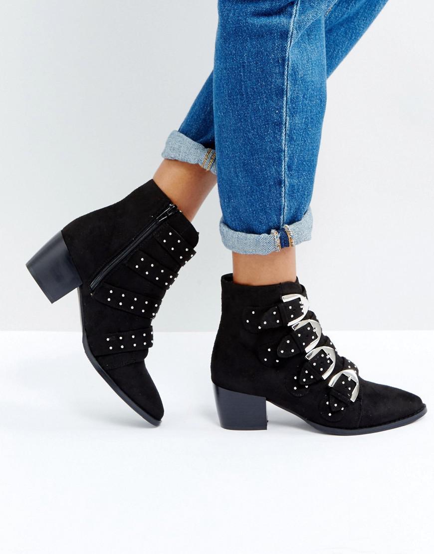 92abd24a1b6 Truffle Collection Stud Buckle Strap Kitten Heel Boot in Black - Lyst