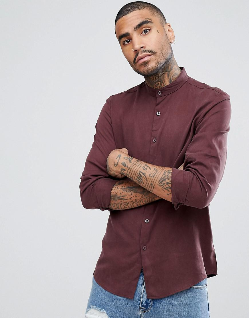 e9ca01063d6 Asos Regular Fit Shirt With Grandad Collar In Burgundy in Red for ...