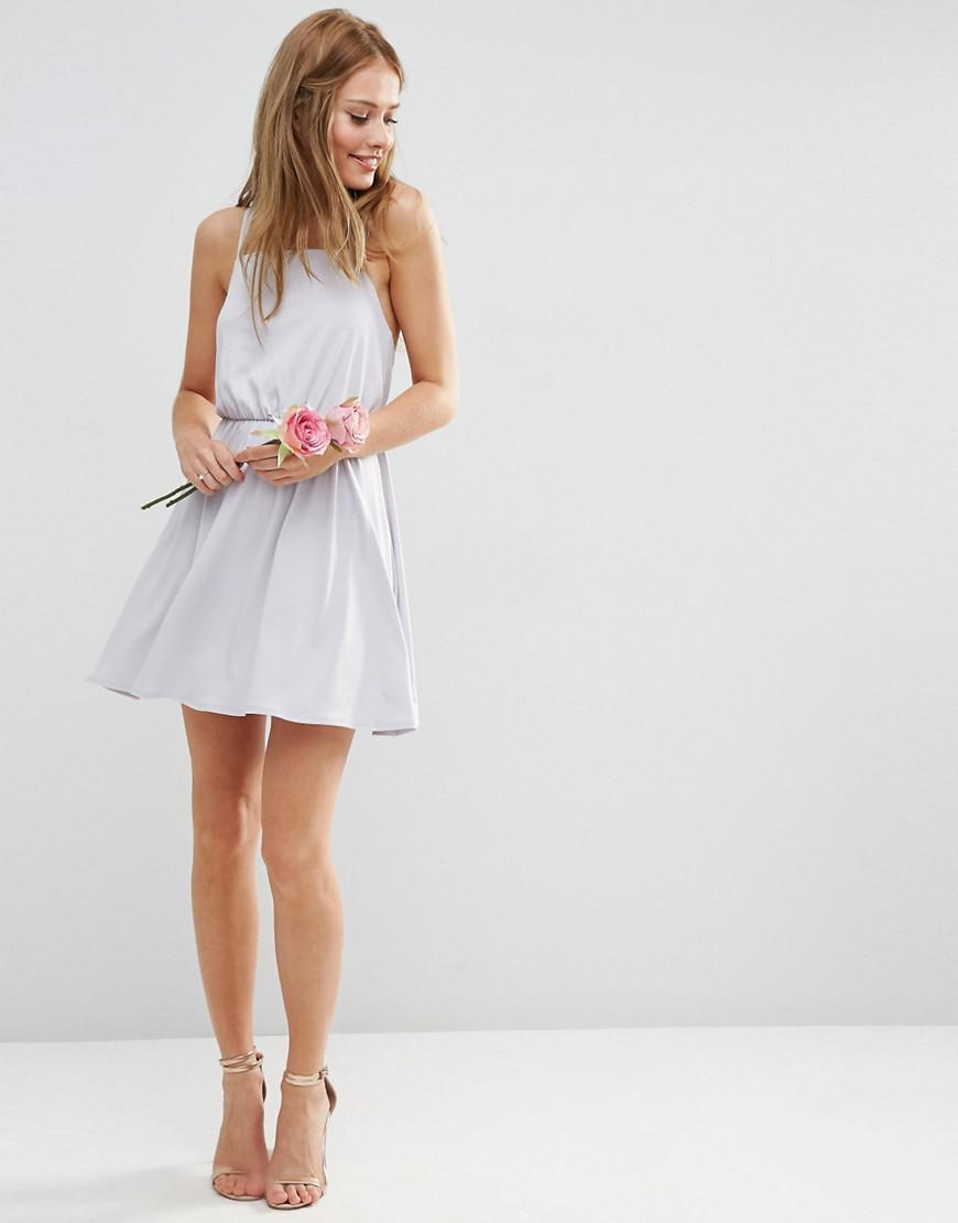 Asos Wedding Crepe Cross Back Mini Dress in White | Lyst