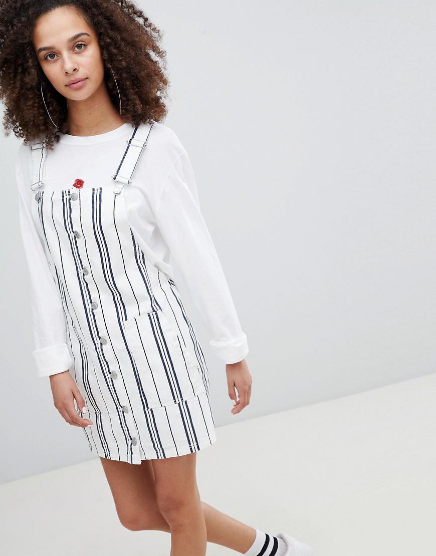 d9fd2e04a8 Lyst - Bershka Stripe Overall Dress In Multi