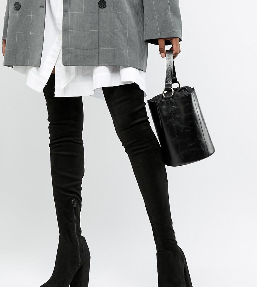 f3fa96a58f97 Lyst - ASOS Asos Design Tall Kassidy Heeled Thigh High Boots in Black