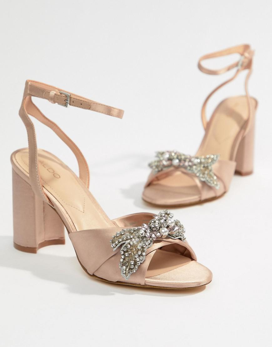 add70116f43 Aldo embellished blush block heeled sandals in pink lyst jpg 870x1110 Aldo  clear sandals