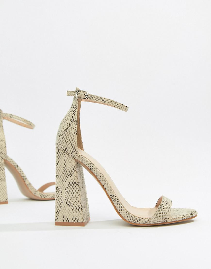 4a8bfa0ea81d Lyst - Public Desire Tess Snake Block Heeled Sandals