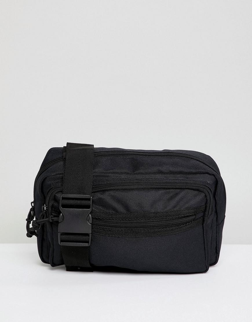 cb0e2384461 ASOS Oversized Cross Body Bum Bag In Black Texture With Chunky Zip in Black  for Men - Lyst