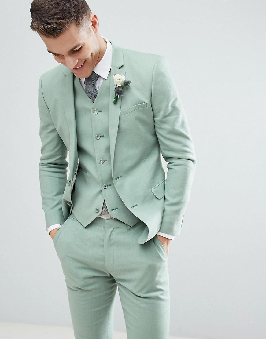 Asos Design Wedding Super Skinny Suit Jacket In Sage Green Linen in ...