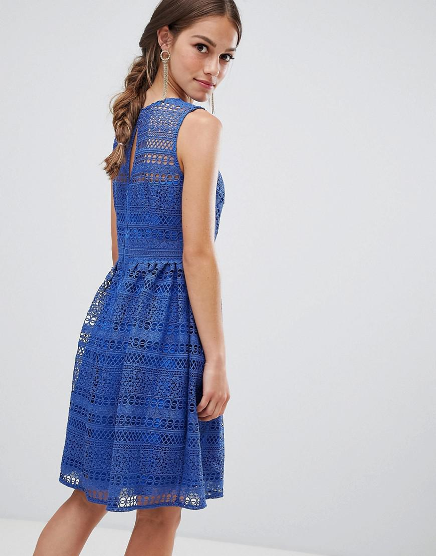 cacec637f472 Lyst - Little Mistress All Over Lace Prom Midi Skater Dress in Blue