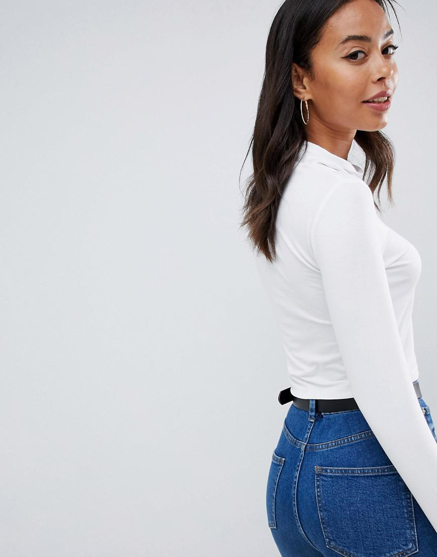 a4e1d5d9e1042 Lyst - ASOS Asos Design Tall Turtleneck Crop Top With Long Sleeve In White  in White