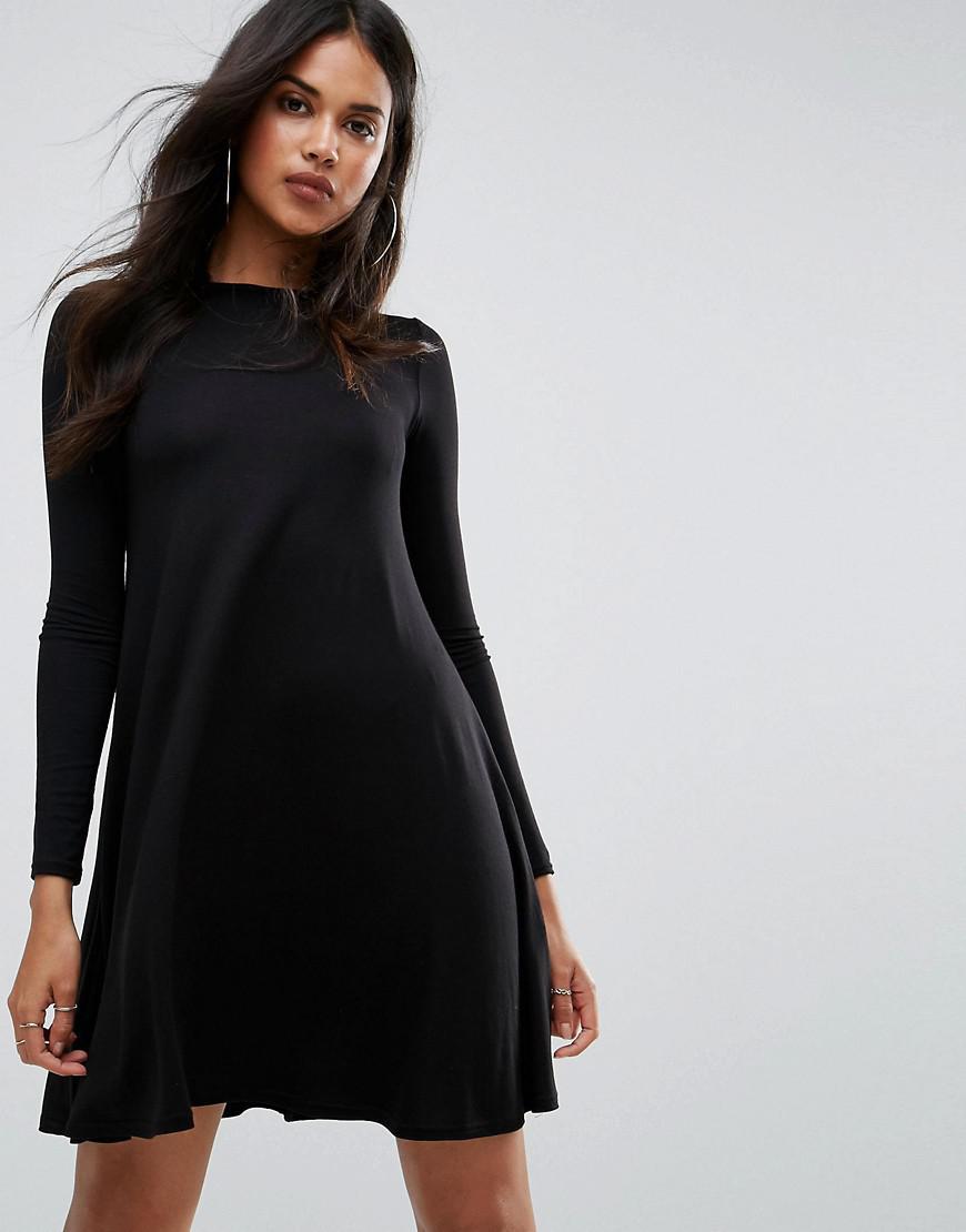 da184e65846c Lyst - Boohoo Basic Scoop Neck Long Sleeve Swing Dress In Black in Black