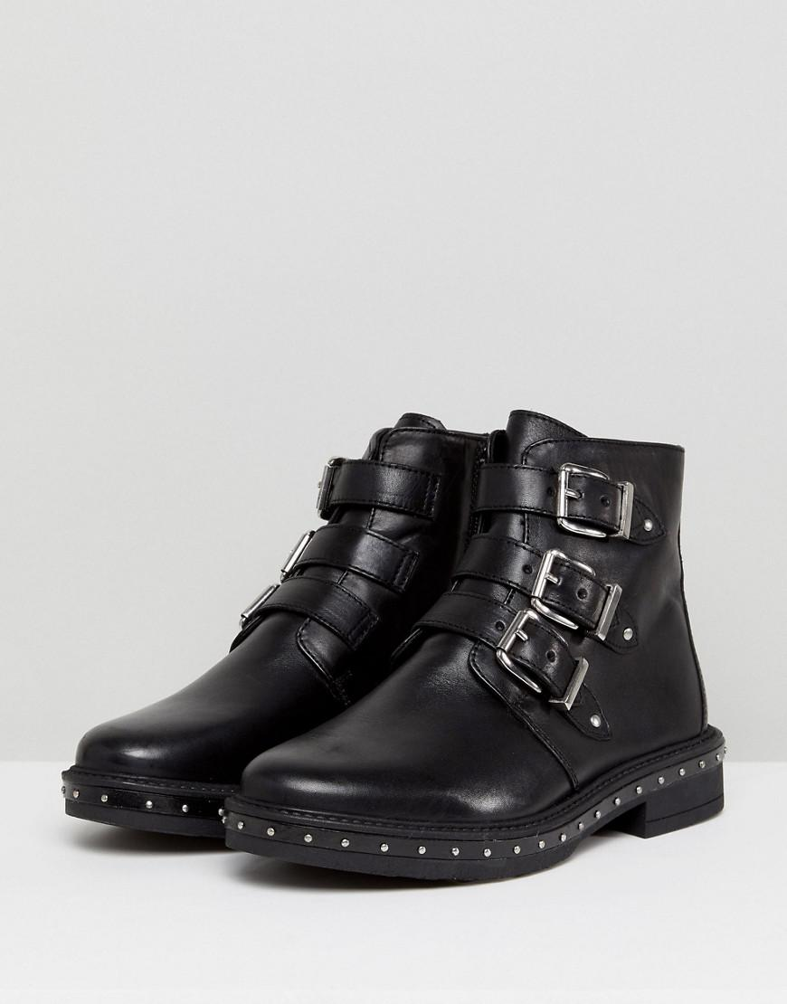 ac3dbf6f0bf Lyst - Steve Madden Matika Studded Leather Buckle Ankle Boots in Black