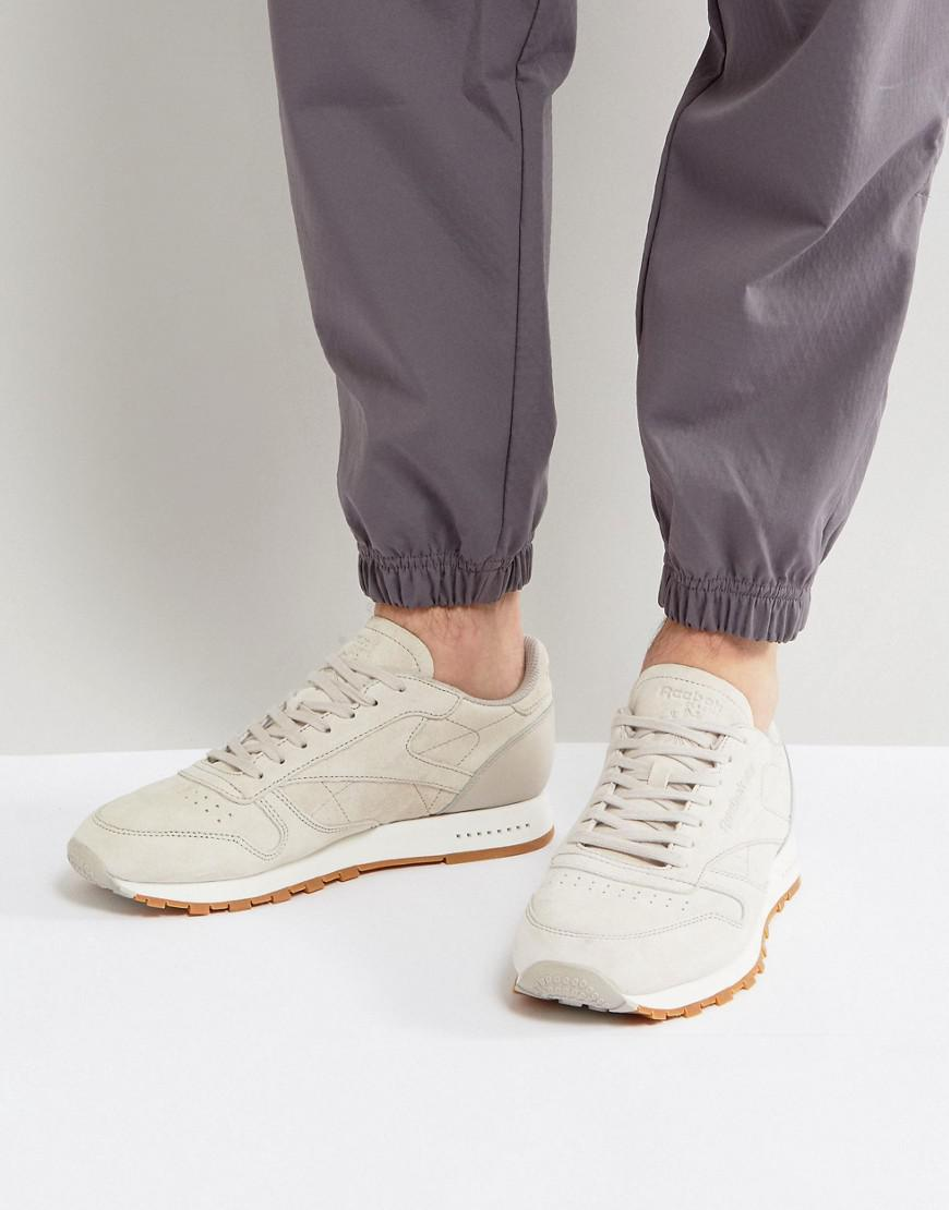 Reebok Classic Leather Gum Sole Trainers In Beige Bs7893 in Natural ... 38d61db33f95
