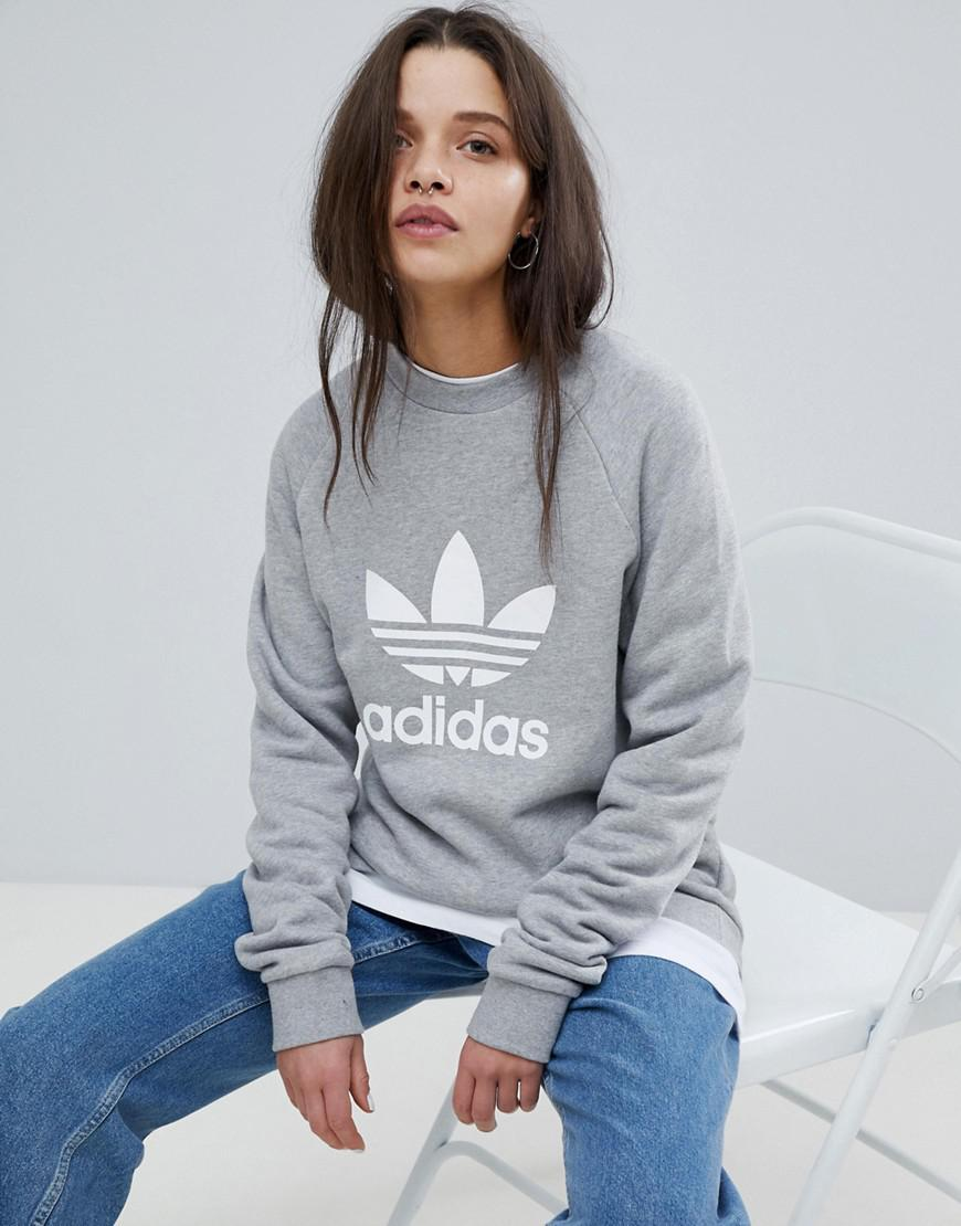 858d6fd31fbe Lyst - adidas Originals Trefoil Crew Neck Sweatshirt In Grey in Gray ...