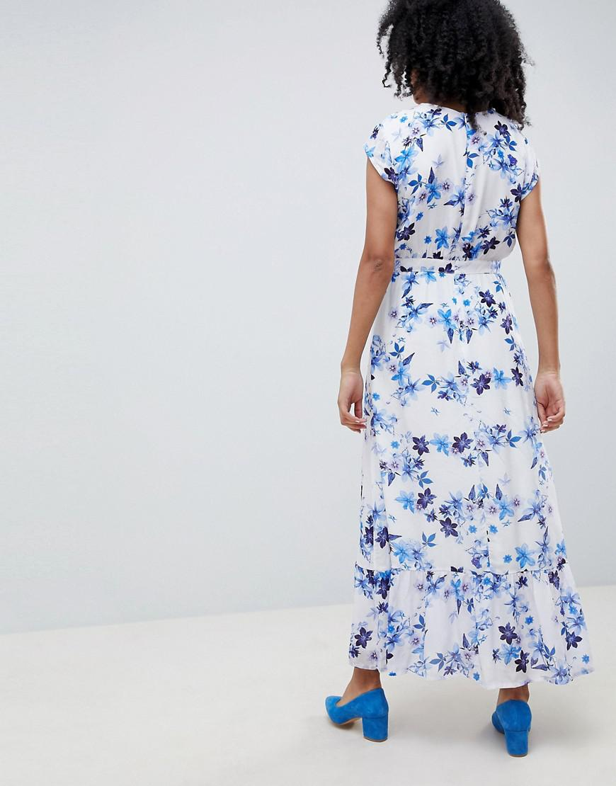 1688404fba2 Lyst - Gestuz Floral Maxi Dress With Frill Shoulder in Blue