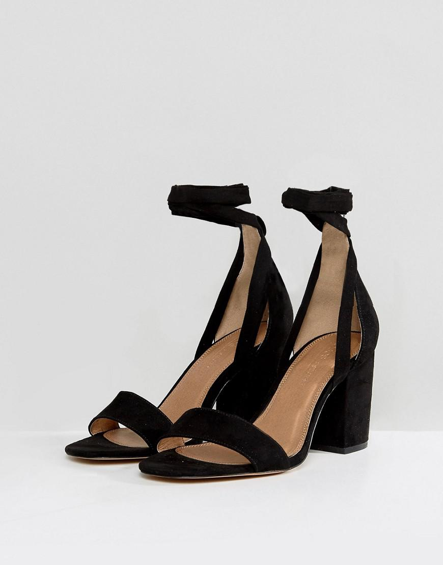 2a1116975f8 Lyst - ASOS Wide Fit Howling Tie Leg Block Heeled Sandals in Black