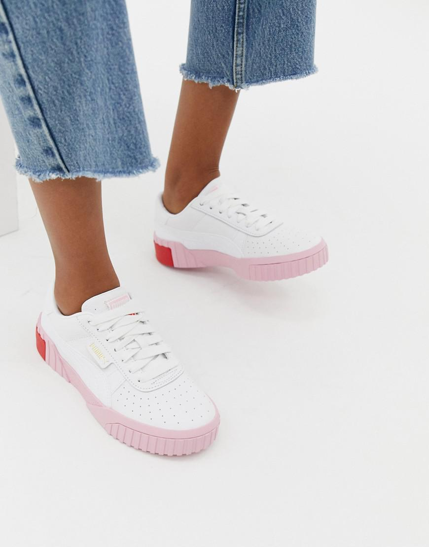 9d77cd1ef46 PUMA Cali White And Pink Trainers in White - Lyst