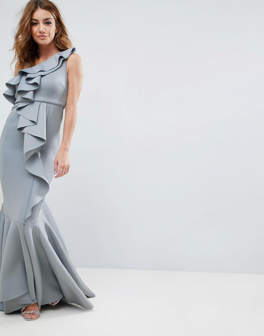 f9f1bb8911 ASOS. Women's Gray Asos Premium Scuba One Shoulder Ruffle Scuba Fishtail  Maxi Dress