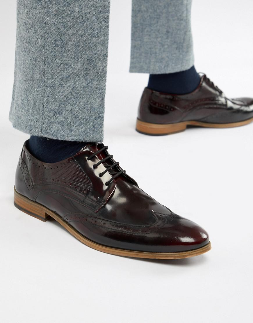 ASOS Brogue Shoes In Burgundy Leather With Natural Sole in Red for ... 9c4ad530380