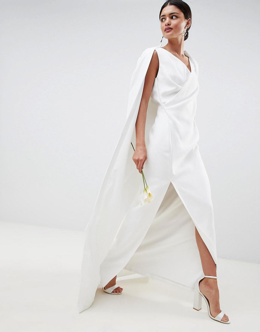 a5017476aed3b Lyst - ASOS Cape Maxi Wedding Dress in White