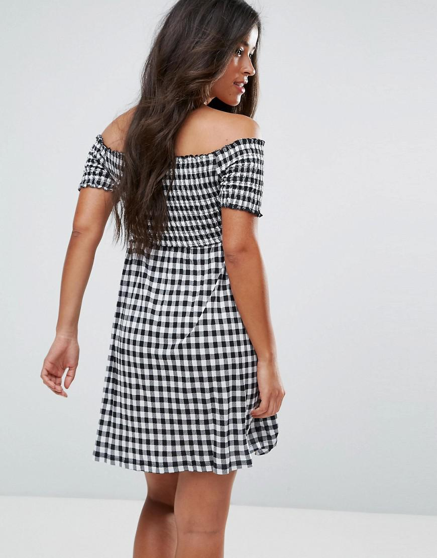 8547cd206a1f ASOS - Multicolor Off Shoulder Sundress With Shirring In Gingham - Lyst