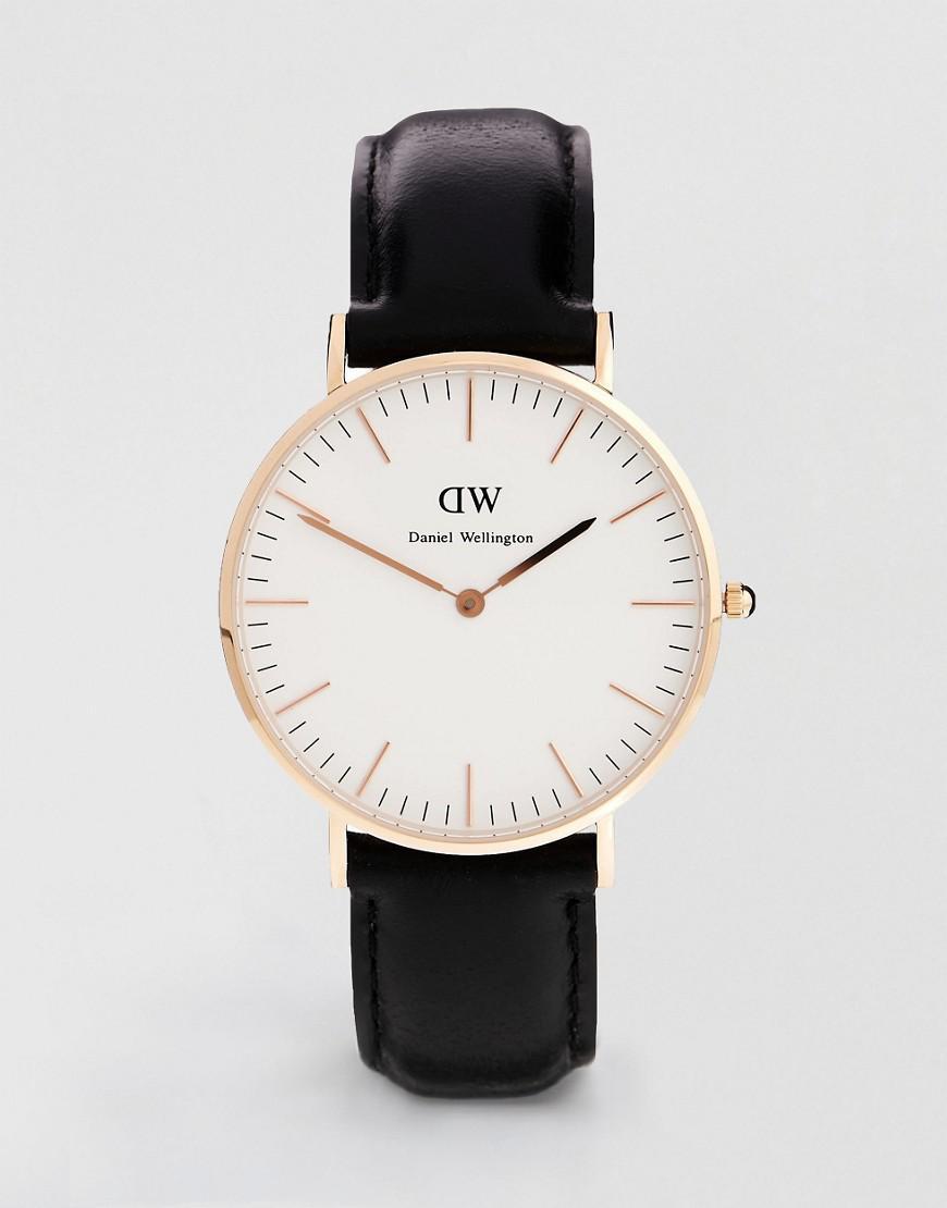 de492a294ef8 Daniel Wellington - Classic Black Sheffield Rose Gold Rim Large Watch for  Men - Lyst. View fullscreen