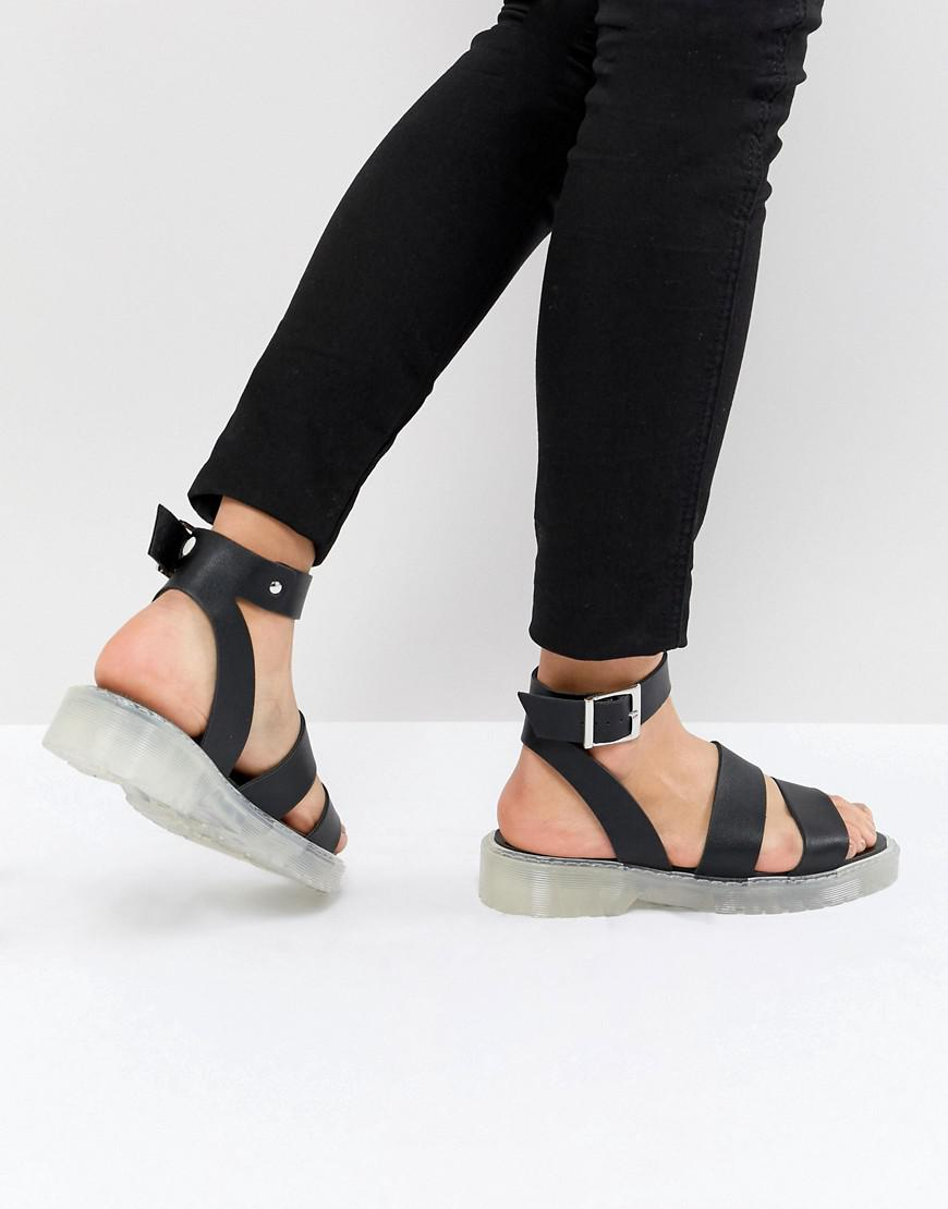 ASOS DESIGN gladiator sandals in leather with chunky sole Fl7yL