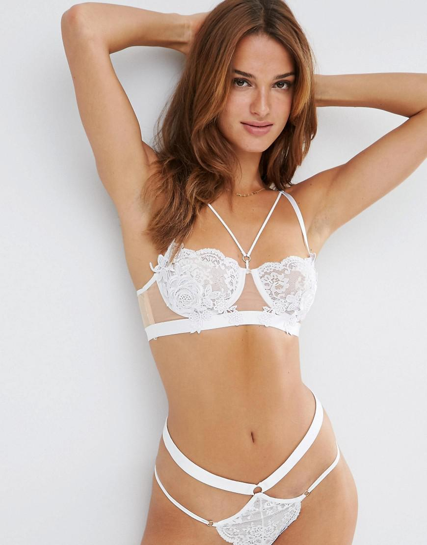 e748ca3c2 ASOS Juliette Applique Underwire Bra in White - Lyst