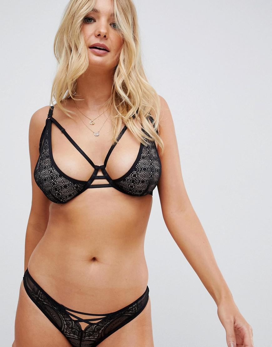 61103f890d Wolf   Whistle Lace Up Front Brief In Black in Black - Lyst