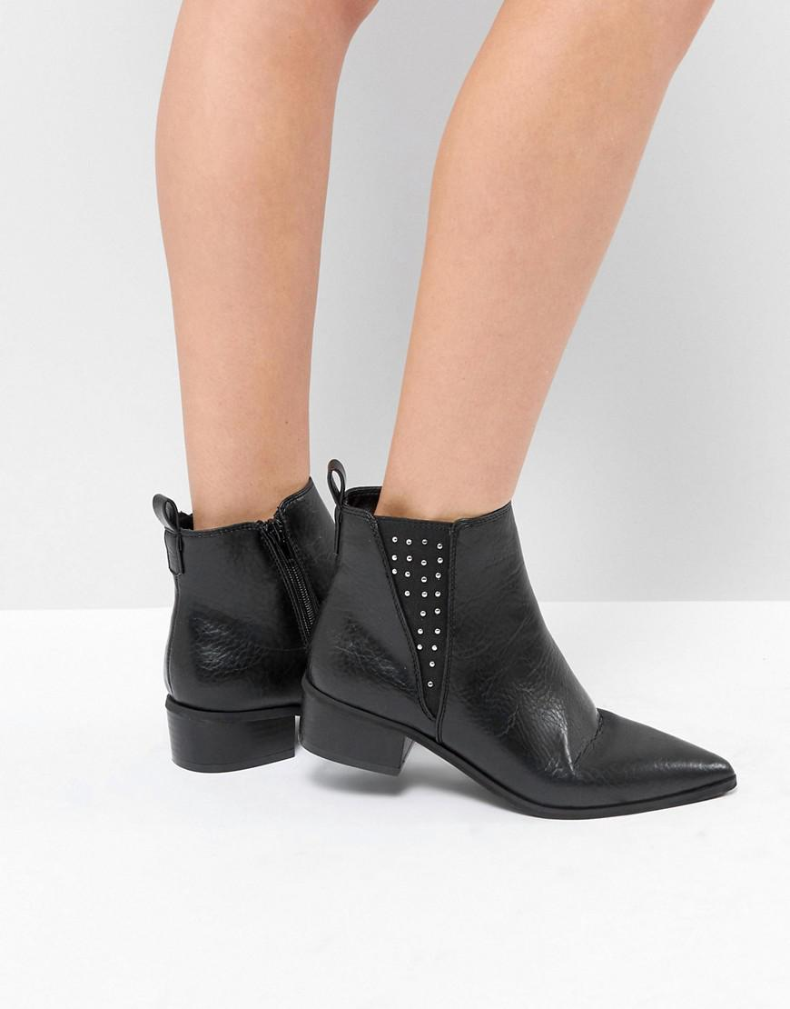 501991cf111b Lyst - London Rebel Studded Gusset Chelsea Boot in Black