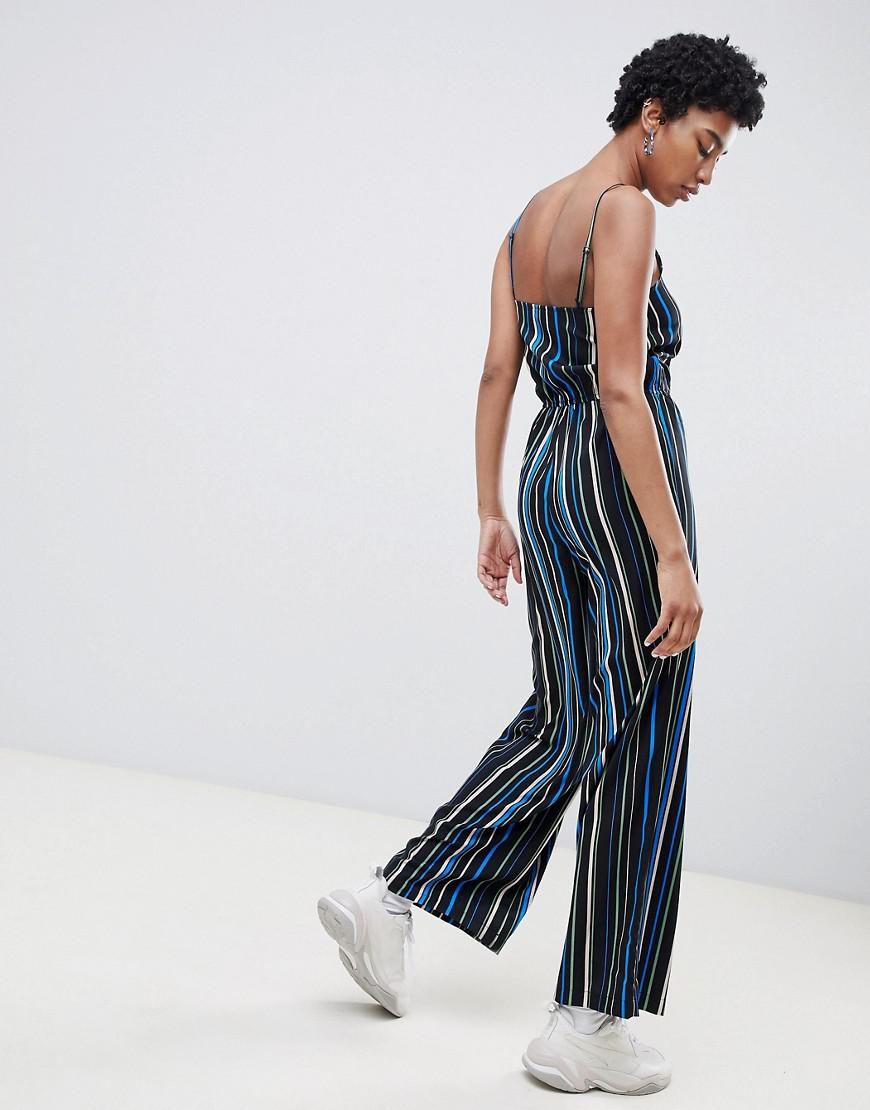 8d30f0e51c8 Noisy May Tall Stripe Wide Leg Cami Jumpsuit in Blue - Lyst