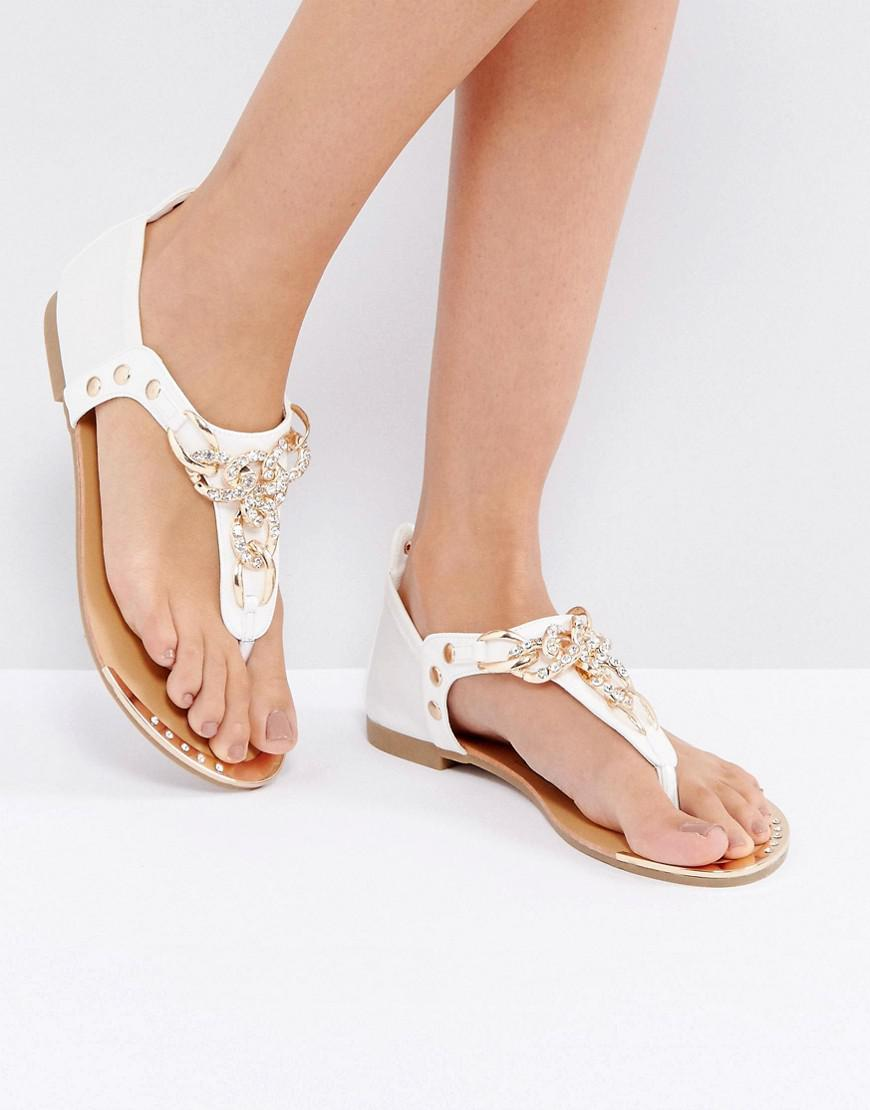 Chain Flat Sandals - White Truffle sbRgkm