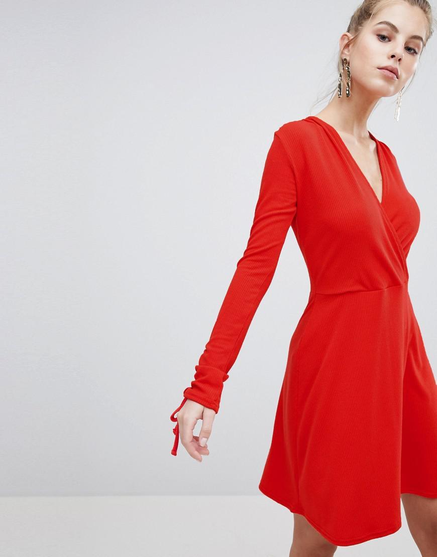 Lyst - Boohoo Wrap Skater Dress in Red f5f4040de