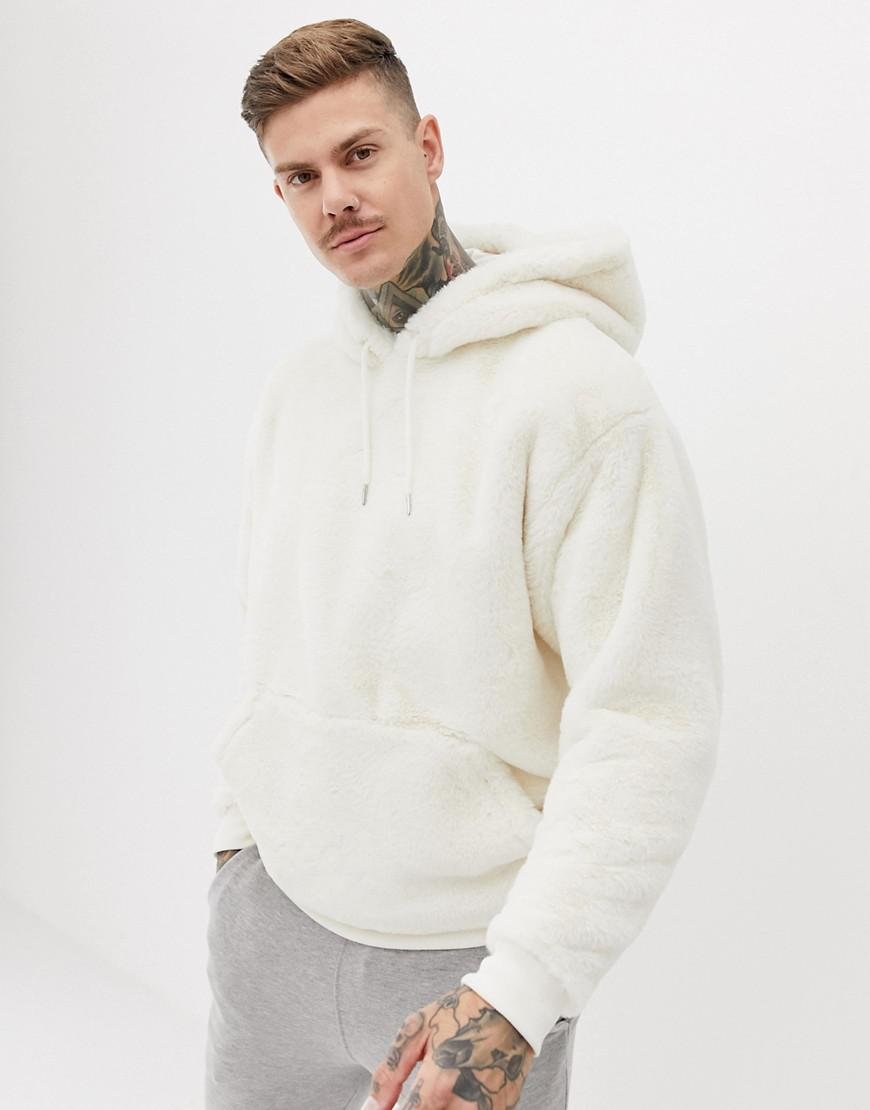 c0bde59520 Lyst - ASOS Oversized Faux Fur Hoodie In Beige in Natural for Men